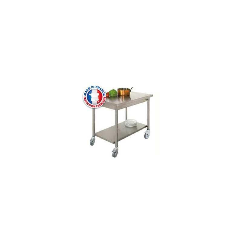 Table centrale avec etag re basse sur roulettes - Table basse avec roulette ...