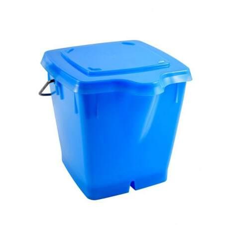 Seau Carre 12L + Couvercle Etanche Bleu Gilac - 1