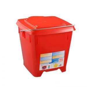 Seau Carre 12L + Couvercle Etanche Rouge Gilac - 1