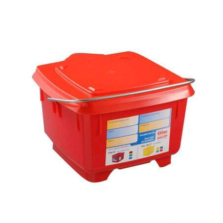 Seau Carre 8L + Couvercle Etanche Rouge Gilac - 1