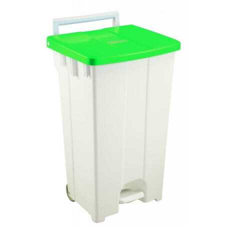 Container A Pedale 100L Couvercle Vert Gilac - 1