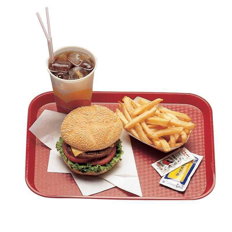 Plateau polypropylène Fast-food à rebord élevé - Lot de 24