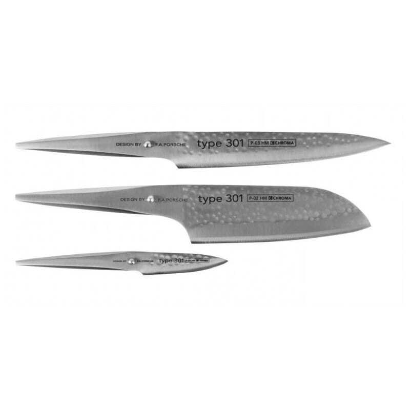 Coffret de 3 couteaux martelés Santoku - couteau à découper - couteau d'office Type 301 Design by F.A. Porsche