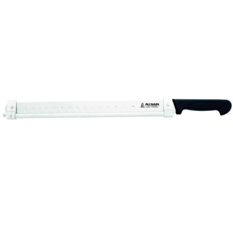 Couteau à saumon alvéolé manche moulé 40 cm avec barrette réglable.
