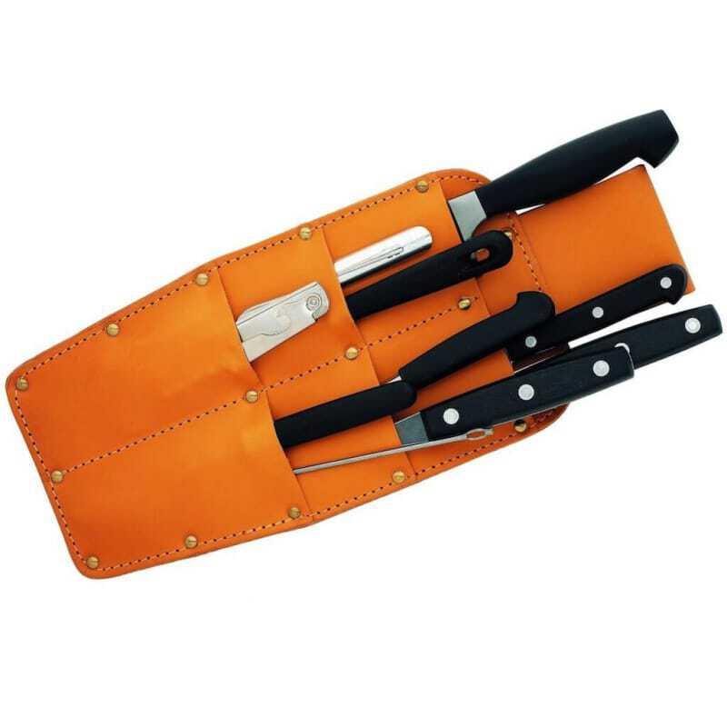 Carquois en Cuir avec 10 pièces - Couteaux et accessoires