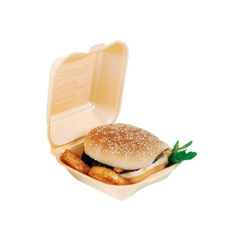 Boîte Coque Double Hamburger PSE - 145 x 133 mm - Lot de 500 FourniResto - 1