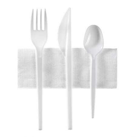 Couverts Jetables - Kit 4 Pièces : Couteau, Fourchette, Petite Cuillière et Serviette - Lot de 250 FourniResto - 1