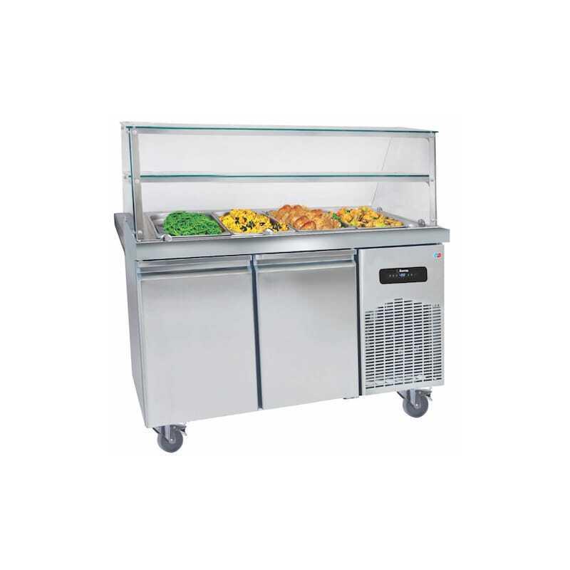 Buffet Chauffant Inox 4 Bacs avec Desserte Réfrigérée- 2 Portes GN 1/1 MultiGroup - 1