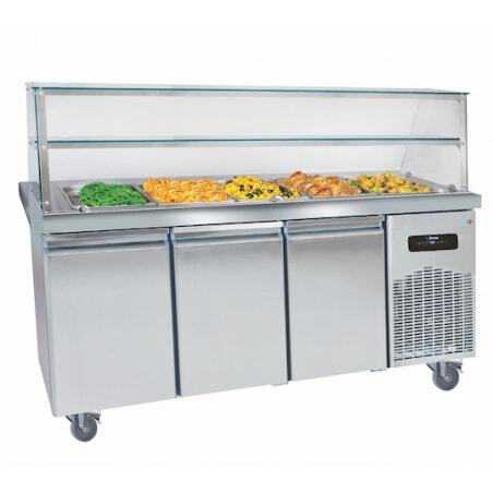 Buffet Chauffant Inox 5 Bacs avec Desserte Réfrigérée - 3 Portes GN 1/1 MultiGroup - 1