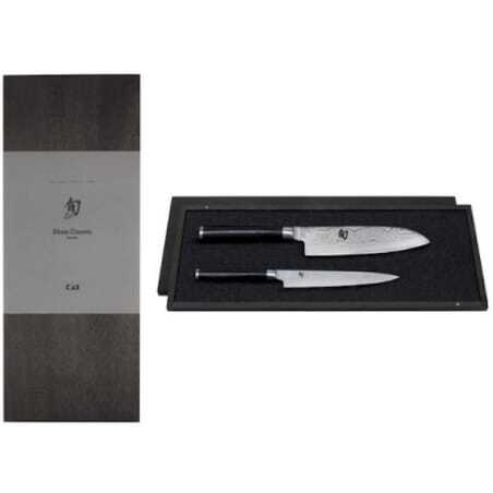 Set de 2 couteaux Damas Shun - Universel et Santoku KAI - 1