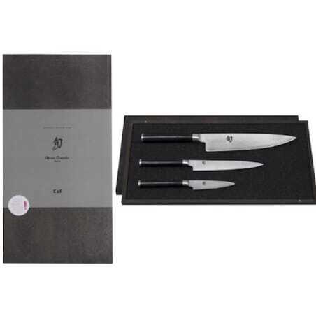 Set de 3 couteaux Damas Shun - Office Universel et Chef KAI - 1