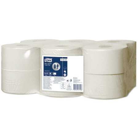 Papier Toilette Mini Jumbo Advanced Blanc - Lot de 12 Tork - 1