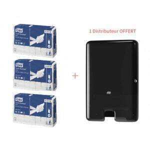 Starter Pack Distributeur pour Essuie-Mains Interfoliés Noir et Essuie-Mains Interfoliés Tork - 1