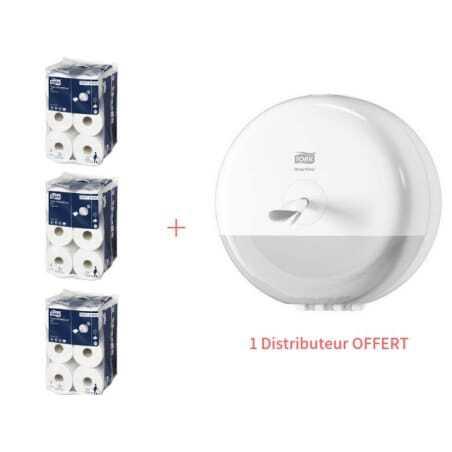 Starter Pack Mini Distributeur de Papier Toilette SmartOne Blanc et Papier Toilette Tork - 1
