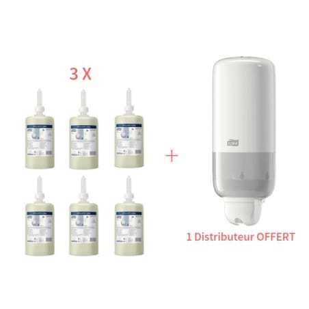 Starter Pack Distributeur de Savon Blanc et Savon Liquide Doux Tork - 1