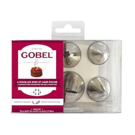 Boîte de 6 douilles inox et poche à douille Gobel - 1