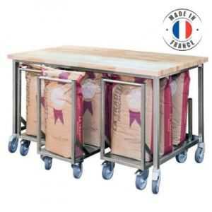 Table de Boulangerie avec Chariots Porte-Sacs Farine SOFINOR - 1