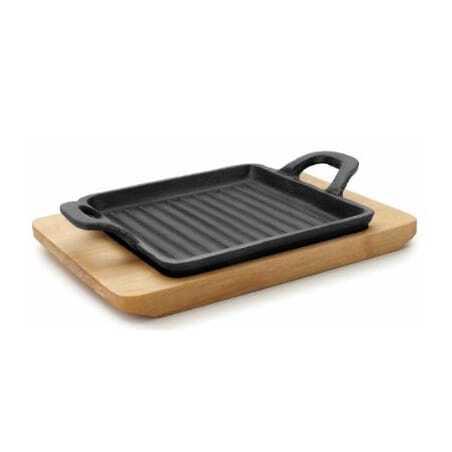 Mini Plancha Grill Rainurée avec Base Bois - 19,5 x 14 cm Lacor - 1