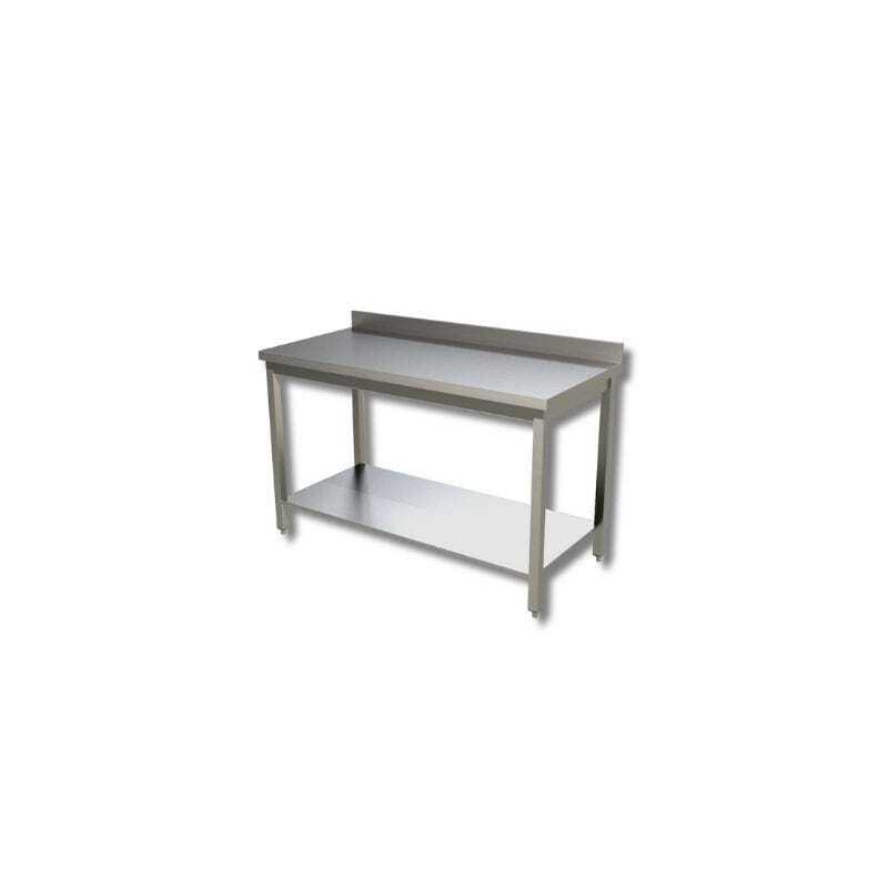 Table Inox avec Etagère Basse Avec Dosseret - Profondeur 600 FourniResto - 1