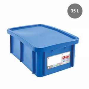 Bac 35L+Couvercle Bleu Antibacterien Gilac - 1
