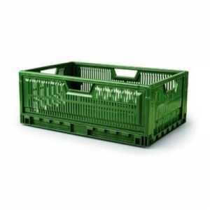 Caisse Pliable Empilable 600 x 400 - 47 L - Vert Gilac - 1