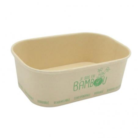 """Barquette Bambou Micro Ondable """"Je Suis en Bambou"""" - 75 cl - Lot de 50 FourniResto - 1"""