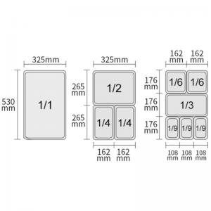 Bac GN 1/1 pour Chafing Dish avec 2 Compartiments HENDI - 2