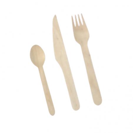 Couverts en Bouleau - Kit 3 Pièces : Couteau, Fourchette, Cuillère - Lot de 250 FourniResto - 1