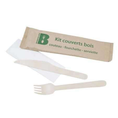 Couverts en Bouleau - Kit 3 Pièces : Couteau, Fourchette et Serviette - Lot de 250 FourniResto - 1