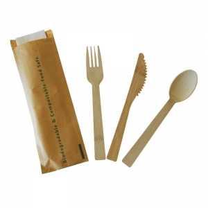 Couverts en Bambou - Kit 4 Pièces : Couteau, Fourchette, Cuillère, Serviette - Lot de 200 FourniResto - 1