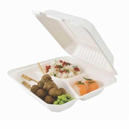 Lunch Box Bagasse 3 Compartiments - Lot de 50 FourniResto - 1