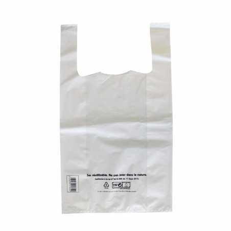 Sac Bretelle Réutilisables Blanc - 10 L - Lot de 500 FourniResto - 1