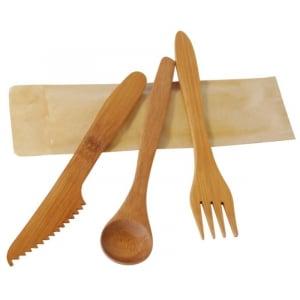 Couverts en Bambou Luxe - Kit 3 Pièces : Couteau, Fourchette, Cuillère - Lot de 50 FourniResto - 1