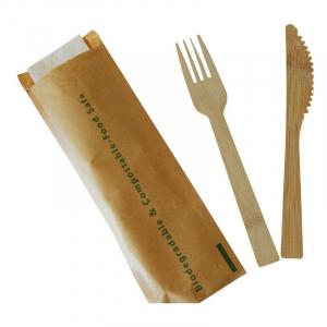 Couverts en Bambou - Kit 3 Pièces : Couteau, Fourchette et Serviette - Lot de 200 FourniResto - 1