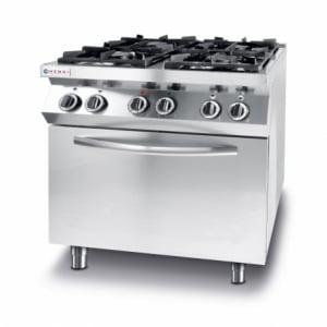 Cuisinière Kitchen Line - 4 feux avec four à convection électrique GN 1/1 HENDI - 1