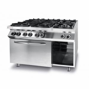Cuisinière Kitchen Line - 6 feux avec four à convection électrique GN 1/1 HENDI - 1