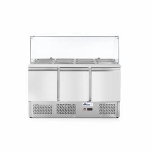 Saladette 3 portes avec vitrine réfrigérée en verre 380L HENDI - 1