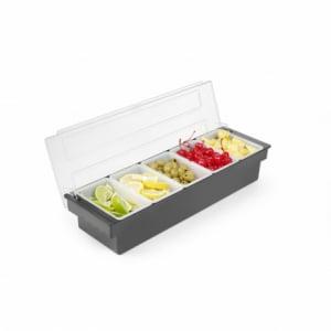 Boîte à ingrédients 5 compartiments en ABS noir HENDI - 1