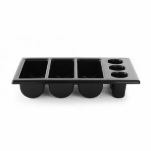 Bac à Couverts - 6 Compartiments - Noir HENDI - 1