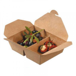 Boîte Repas à 2 Compartiments en Carton - 700 + 450 ml - Lot de 50 FourniResto - 1