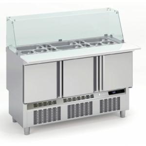 Saladette Réfrigérée Positive pour Fast-Food - 3 Portes - 264 L - 18 Bacs GN 1/6 et 6 Bacs GN 1/9 CORECO - 1