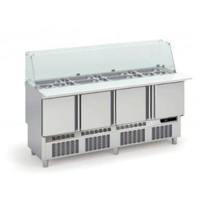 Saladette Réfrigérée Positive pour Fast-Food - 4 Portes - 345 L - 24 Bacs GN 1/6 et 9 Bacs GN 1/9 CORECO - 1