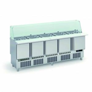 Saladette Réfrigérée Positive pour Fast-Food - 5 Portes - 430 L - 30 Bacs GN 1/6 et 12 Bacs GN 1/9 CORECO - 1