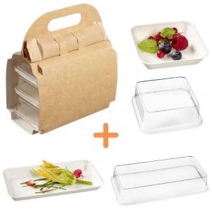 Pack Valisette avec Assiettes Kanopée Blanches - 150 Kits FourniResto - 1