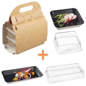 Pack Valisette avec Assiettes Kanopée Noires - 150 Kits FourniResto - 1