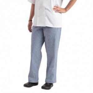 Pantalon De Cuisine Easyfit À Petits Carreaux Bleus - Taille Xxl Whites Chefs Clothing - 1