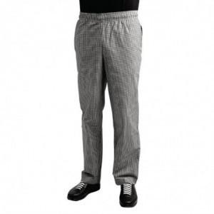 Pantalon De Cuisine Easyfit À Petits Carreaux Noirs - Taille Xl Whites Chefs Clothing - 1