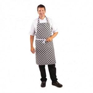 Tablier Bavette À Carreaux Noirs Et Blancs 970 X 710 Mm Whites Chefs Clothing - 1
