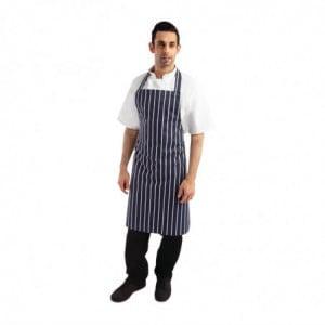 Tablier Bavette Sans Poche Rayé Marine Et Blanc 965 X 710 Mm Whites Chefs Clothing - 1