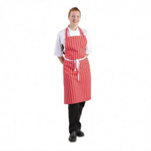 Tablier Bavette Rayé Rouge Et Blanc 710 X 970 Mm Whites Chefs Clothing - 1